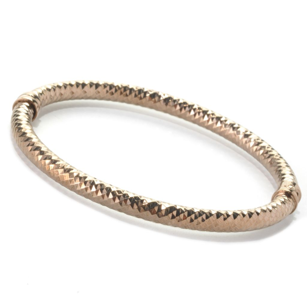 "136-275 - Portofino 18K Gold Embraced™ 7"" Diamond Cut Hinged Bangle Bracelet"