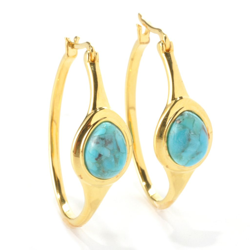 "136-278 - Portofino 18K Gold Embraced™ 1.25"" 9.5 x 7mm Turquoise Hoop Earrings"