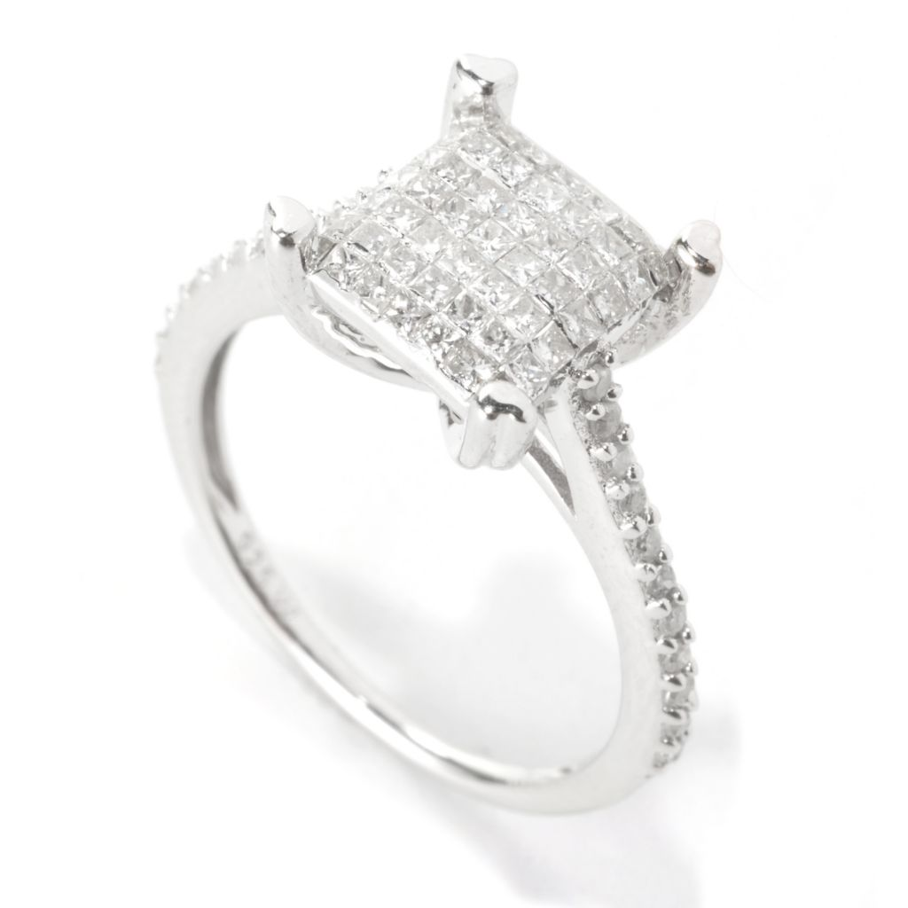 136-280 - Diamond Treasures Sterling Silver 0.57ctw Diamond Invisible Set Basket Ring