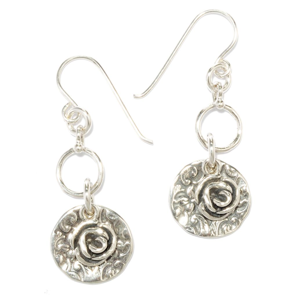 "136-282 - Passage to Israel Sterling Silver 1.5"" Swirl Circle & Rose Design Dangle Earrings"