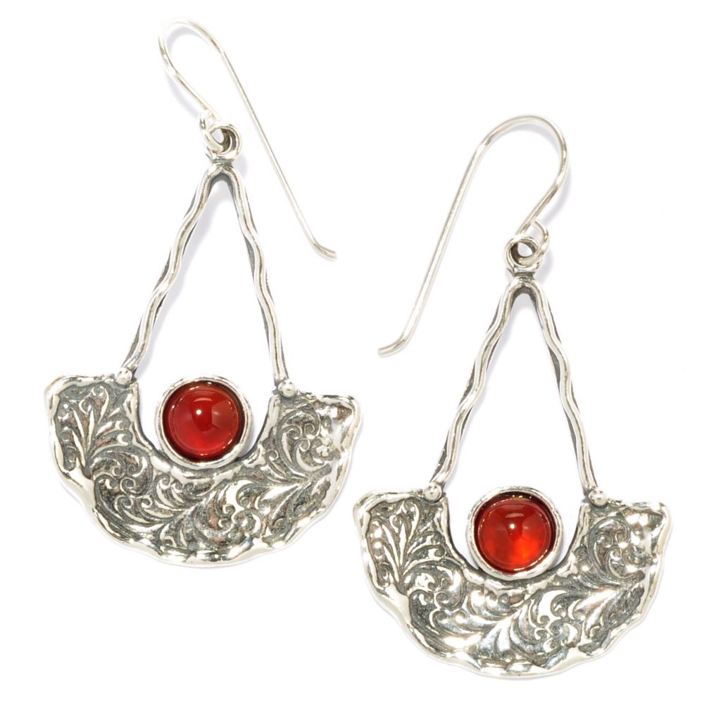 "136-285 - Passage to Israel Sterling Silver 1.75"" 6mm Gemstone Swirl Chandelier Earrings"