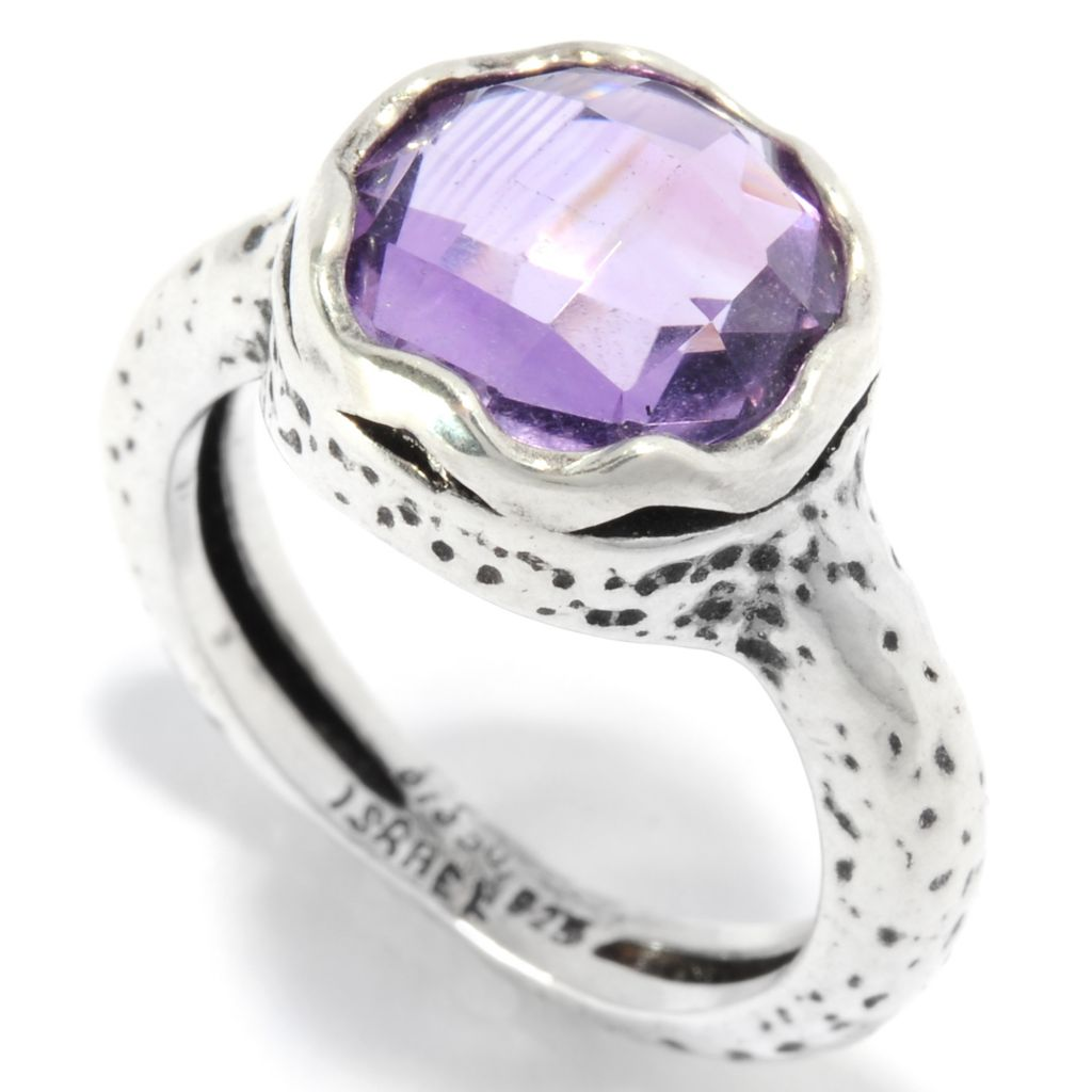 136-287 - Passage to Israel Sterling Silver 10mm Gemstone Scalloped Edge Textured Ring