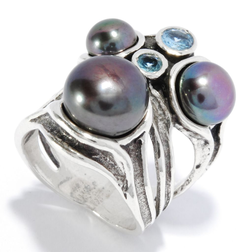 136-288 - Passage to Israel Sterling Silver 6-10mm Peacock Cultured Pearl & Blue Topaz Ring
