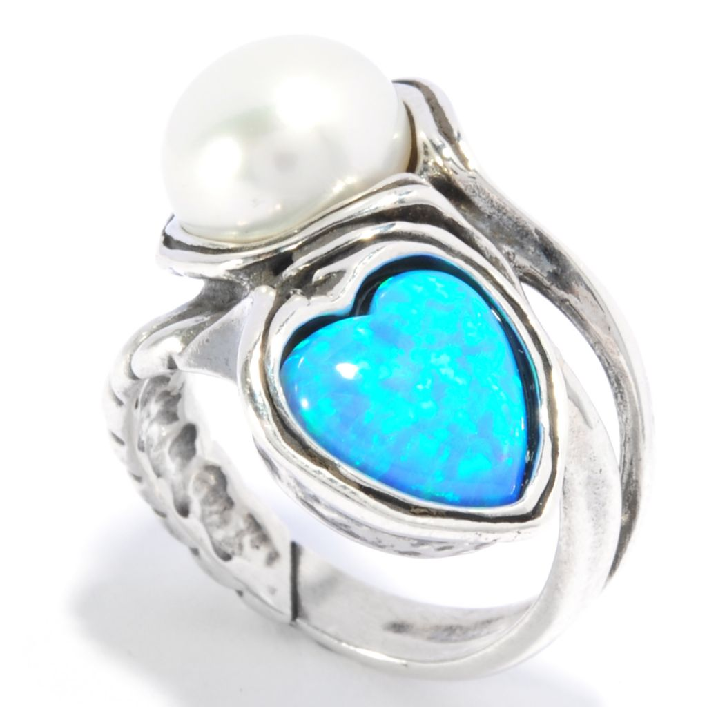 136-290 - Passage to Israel Sterling Silver Cultured Pearl & Simulated Blue Opal Bypass Ring