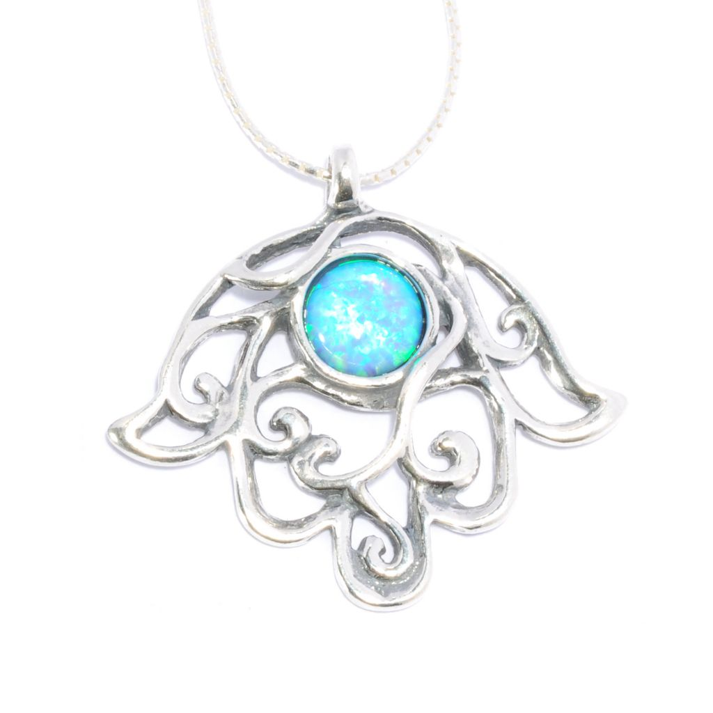 "136-294 - Passage to Israel Sterling Silver 18"" 8mm Simulated Blue Opal Abstract Hamsa Necklace"