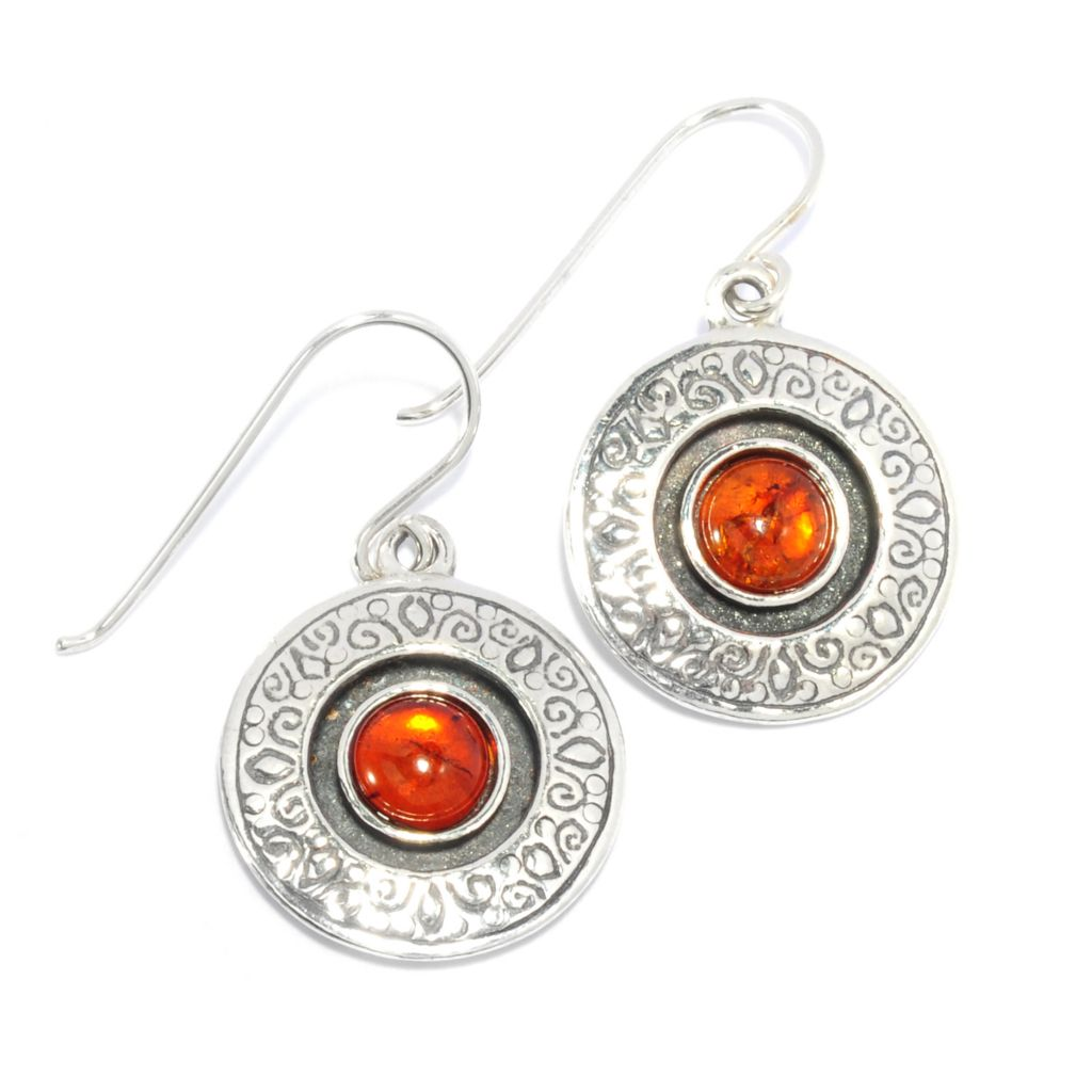 "136-299 - Passage to Israel Sterling Silver 1.25"" 6mm Round Amber Cabochon Medallion Earrings"
