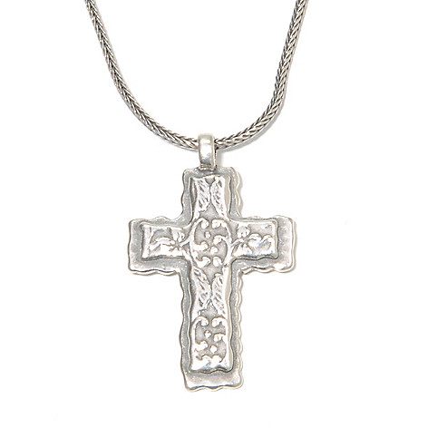 136-300 - Passage to Israel Sterling Silver 18'' Textured Vine Cross Necklace, 7.7 grams