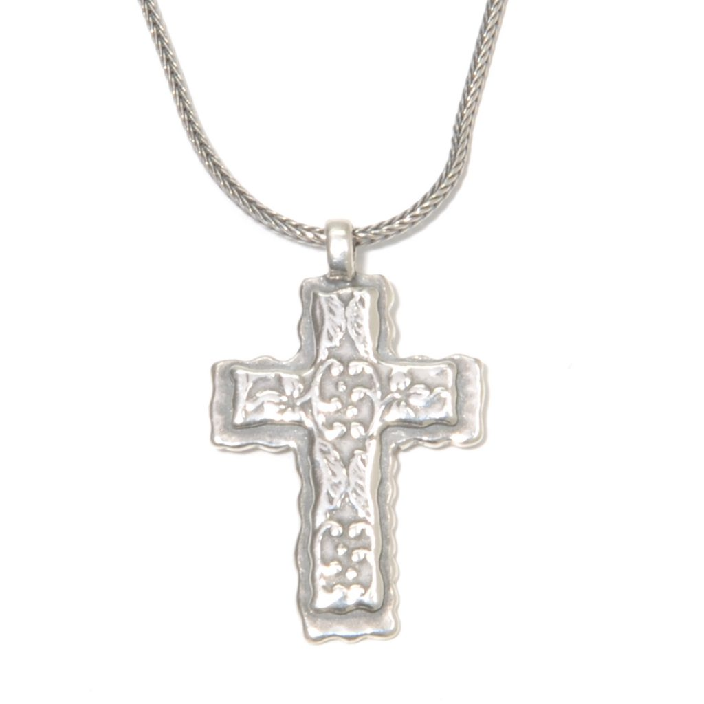 "136-300 - Passage to Israel Sterling Silver 18"" Textured Vine Cross Necklace w/ 2"" Extender"