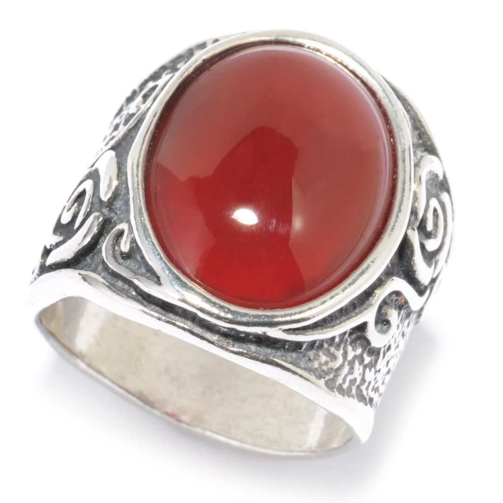 136-301 - Passage to Israel Sterling Silver 16 x 12mm Oval Gemstone Textured Rose Band Ring