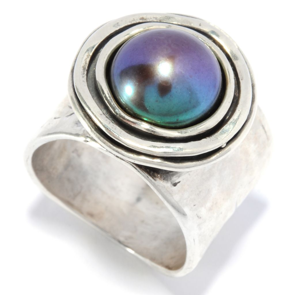 136-302 - Passage to Israel Sterling Silver 10mm Cultured Pearl Hammered Wide Band Ring