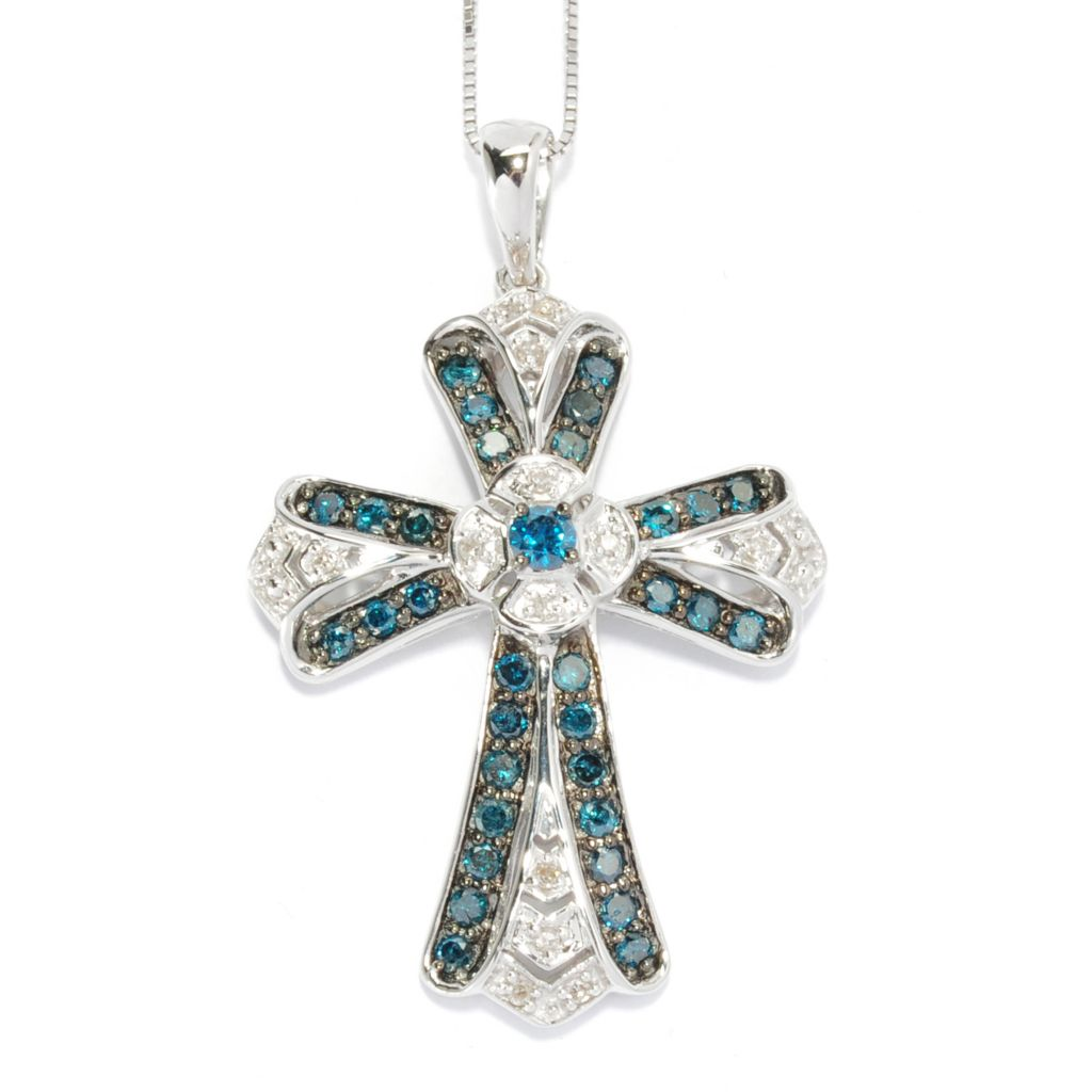 "136-305 - Sterling Silver 1.00ctw White & Blue Diamond Cross Pendant w/ 18"" Chain"