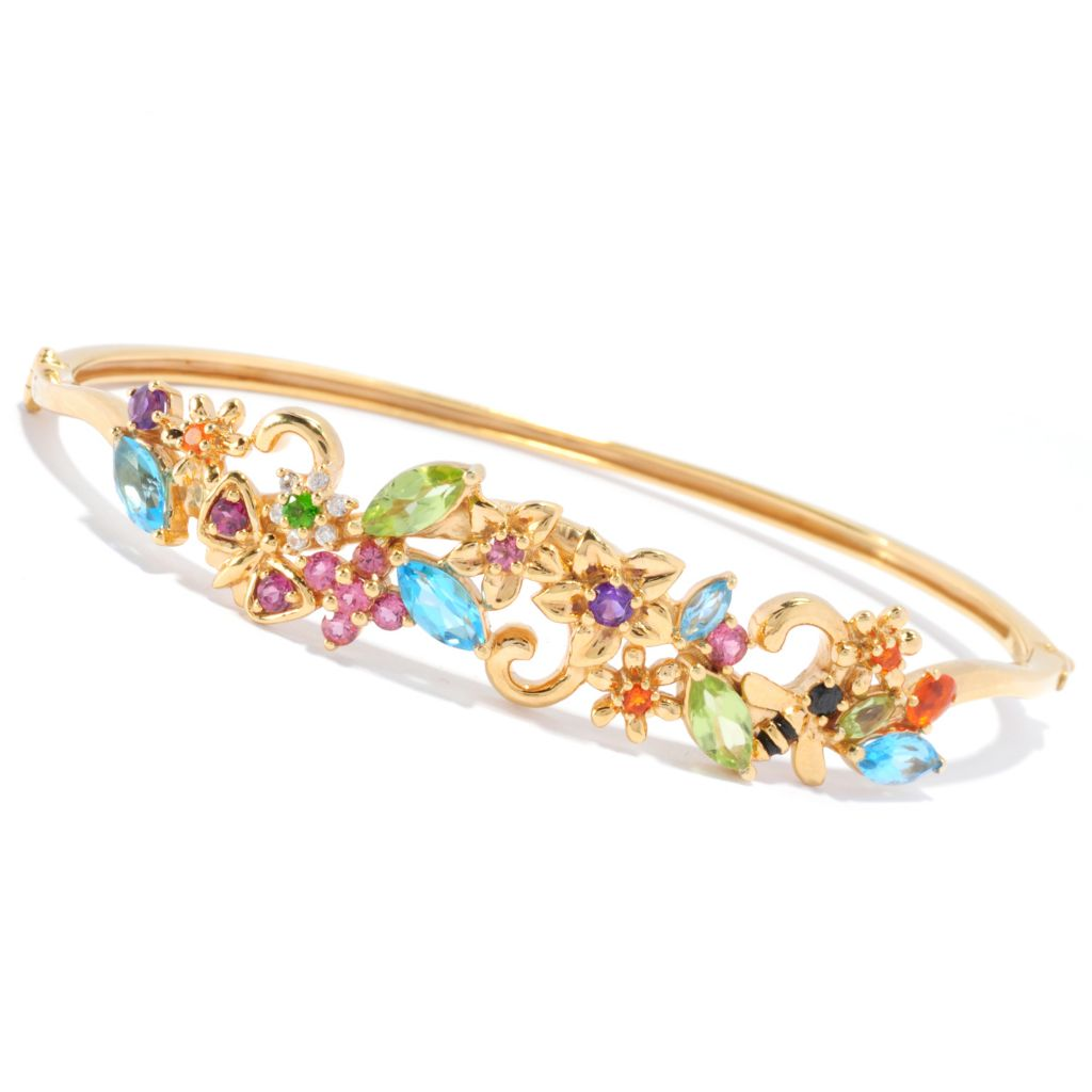136-308 - NYC II 3.98ctw Multi Gemstone Flower Hinged Bangle Bracelet