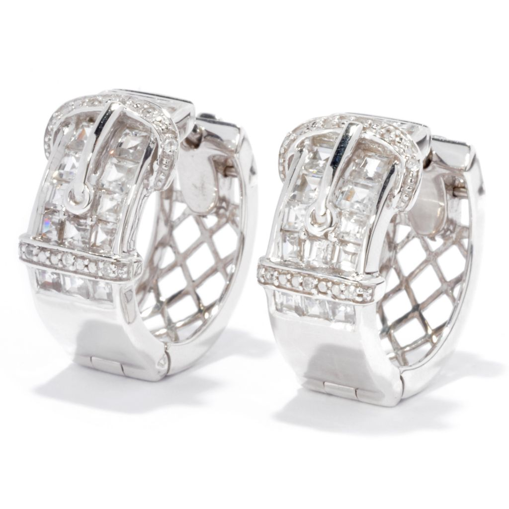 136-309 - NYC II 3.25ctw Princess Cut White Zircon Buckle Hoop Earrings