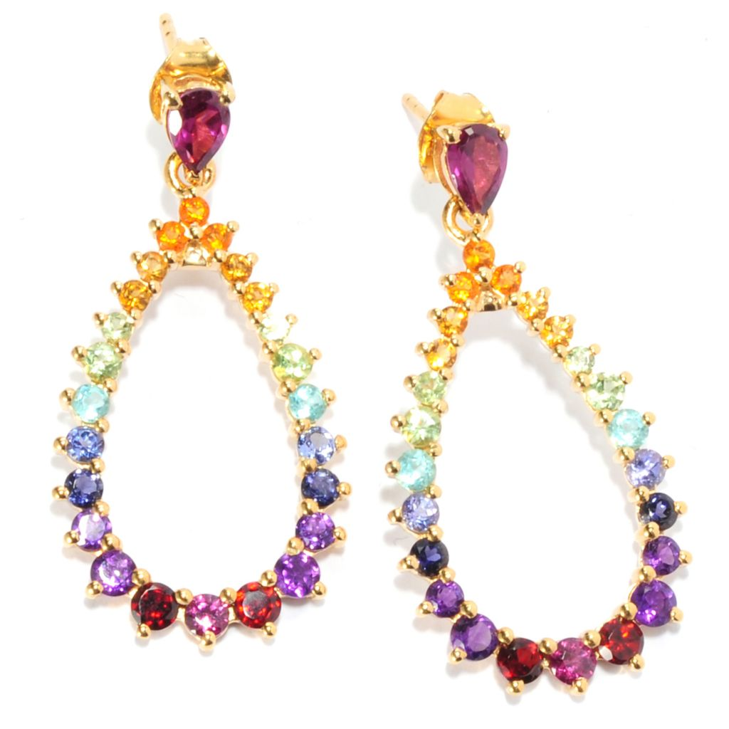 "136-311 - NYC II 1.5"" 3.62ctw Multi Gemstone Exotic Rainbow Teardrop Earrings"