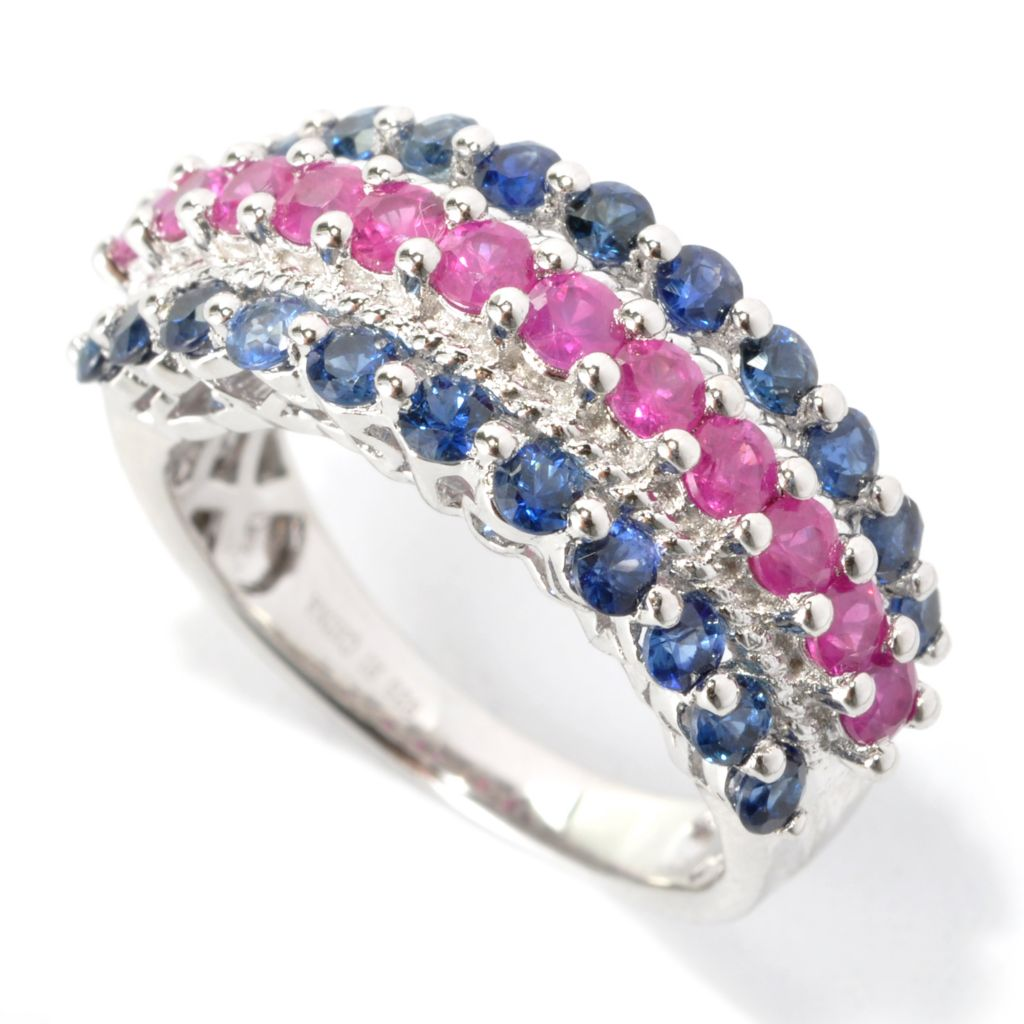 136-314 - NYC II 2.07ctw Ruby & Sapphire Three-Row Band Ring