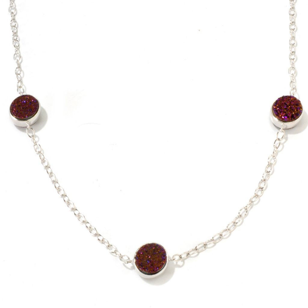 "136-319 - ""As Is"" Gem Insider Sterling Silver 22"" 10mm Double Sided Drusy Necklace"