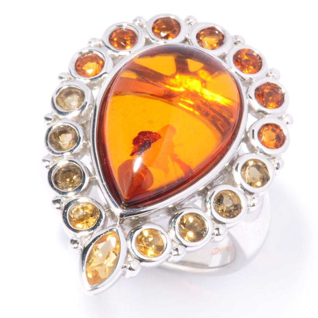 136-323 - Gem Insider Sterling Silver 16 x 11mm Amber & Multi Citrine Pear Shaped Ring