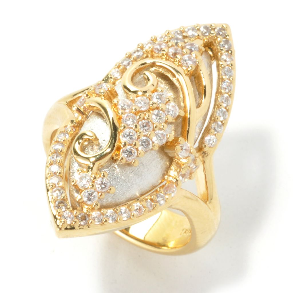 136-327 - Bergio Two-tone Simulated Diamond Marquise Overlay North-South Ring