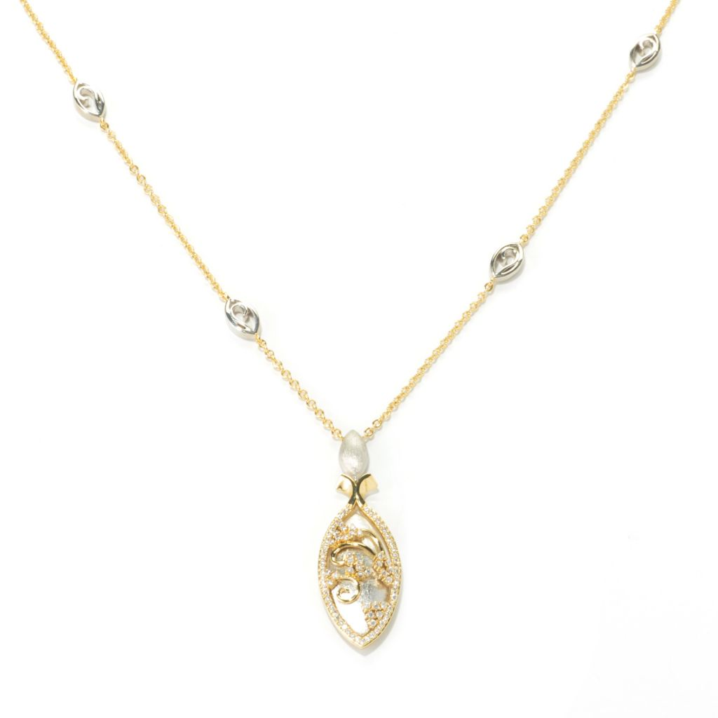 "136-328 - Bergio Two-tone 18"" Simulated Diamond Marquise Overlay Necklace"