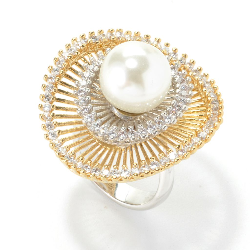 136-329 - Bergio Two-tone Simulated Diamond & Simulated Pearl Double Halo Ring