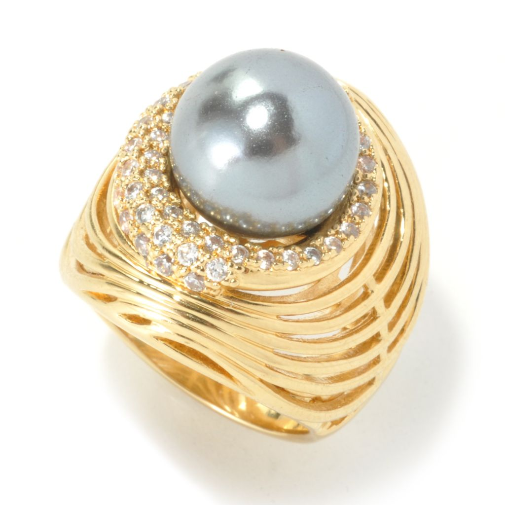 136-330 - Bergio Simulated Pearl & Simulated Diamond Halo Cut-out Dome Ring