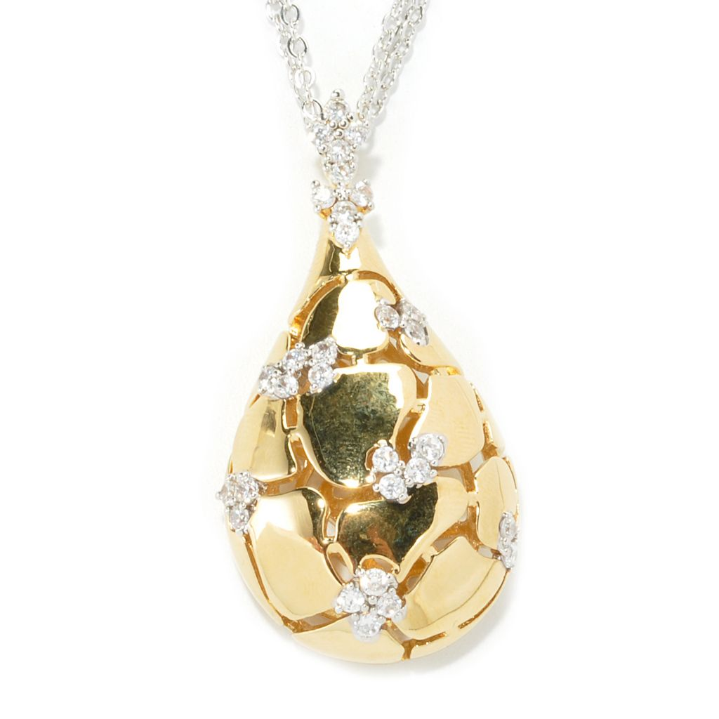 "136-331 - Bergio 1.30 DEW 18K Gold Embraced™ Simulated Diamond Teardrop Pendant w/ 20"" Chain"