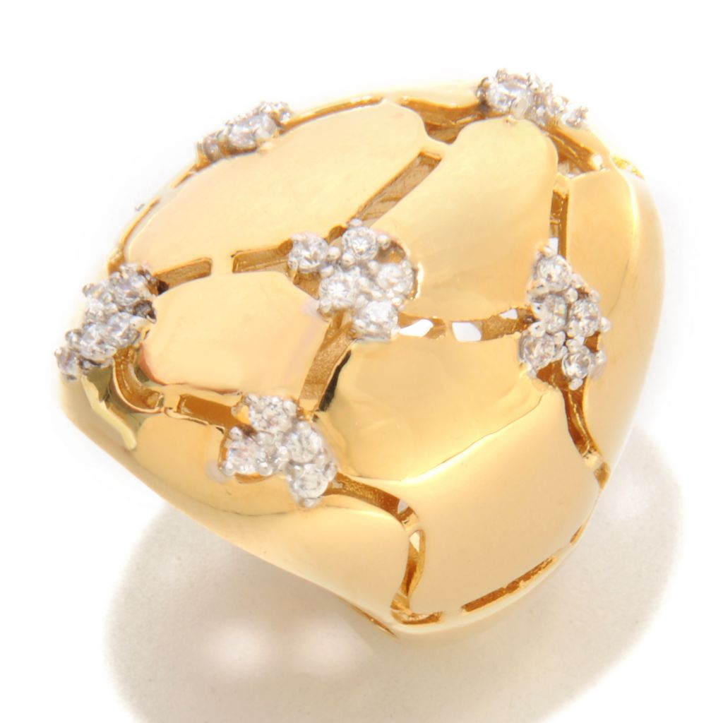 136-334 - Bergio Simulated Diamond Multi Cluster Cut-out Polished Dome Ring