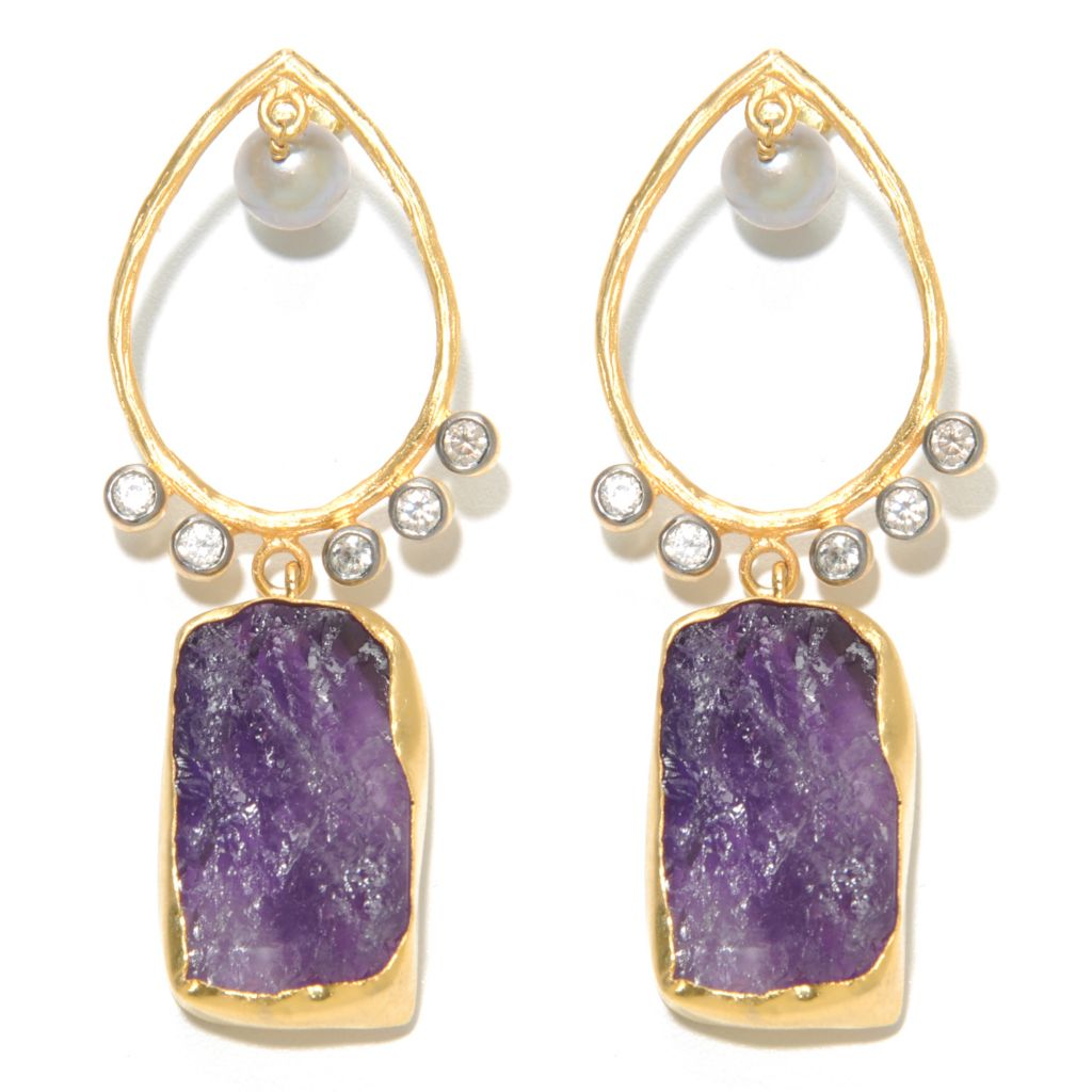 "136-350 - Sattriya™ 2.5"" 8mm Grey Freshwater Cultured Pearl & Freeform Amethyst Dangle Earrings"