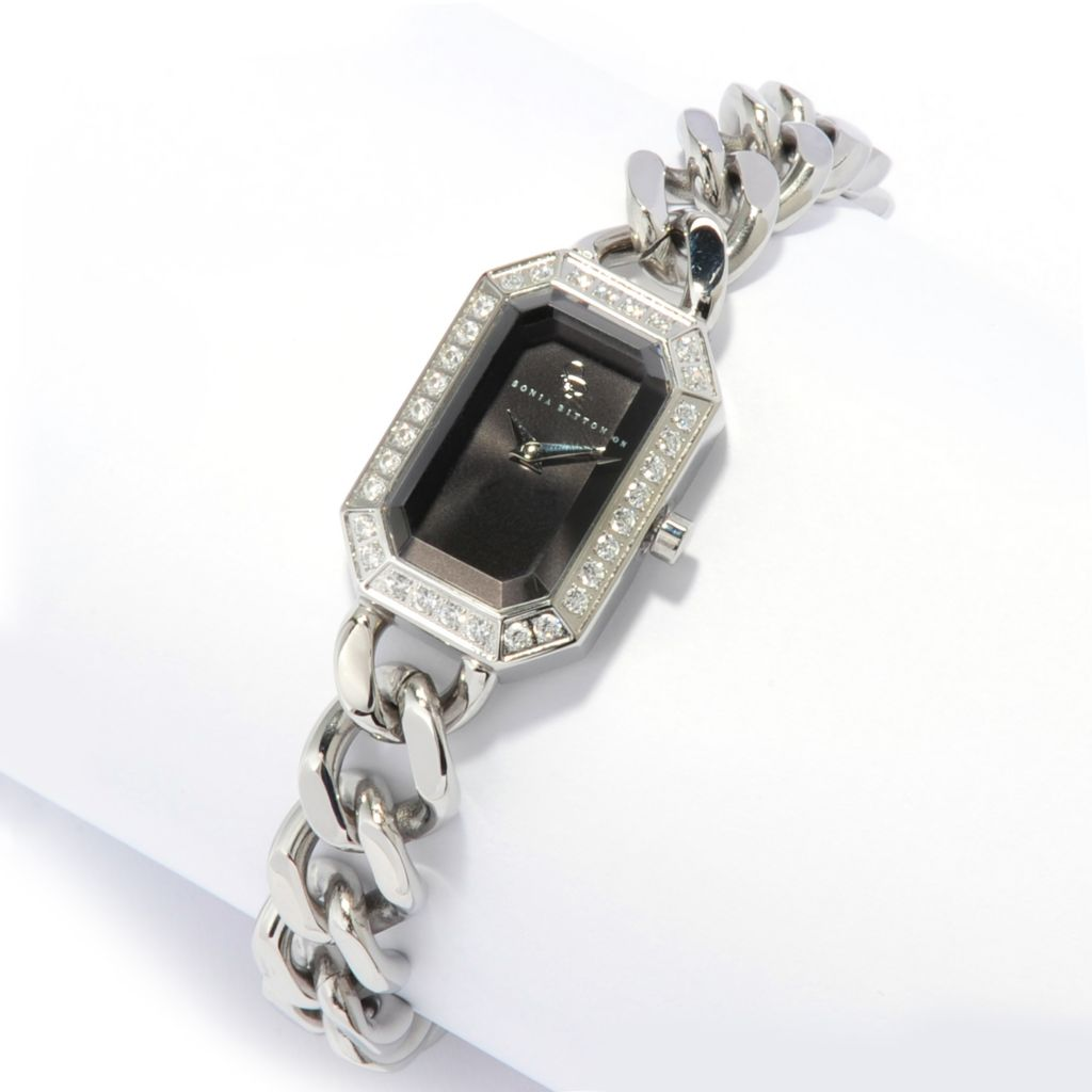 136-356 - Sonia Bitton Women's Simulated Diamond Swiss Quartz Chain Link Bracelet Watch