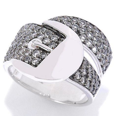 136-357 - NYC II 1.39ctw White Topaz Wide Band Buckle Ring