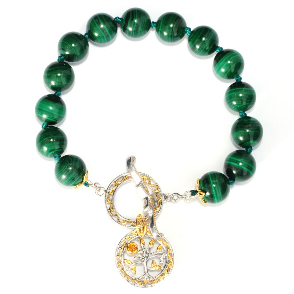 "136-358 - Gems en Vogue 8"" Gemstone Bead Toggle Bracelet w/ Tree of Life Charm"