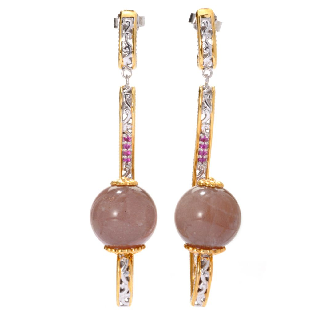 "136-359 - Gems en Vogue II 14mm Chocolate Moonstone & Pink Sapphire 2.5"" Drop Earrings"