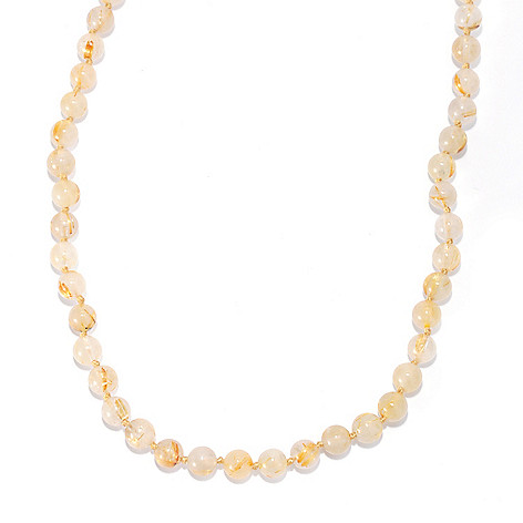 136-360 - Gems en Vogue 20'' Golden Rutilated Quartz Beaded Toggle Necklace