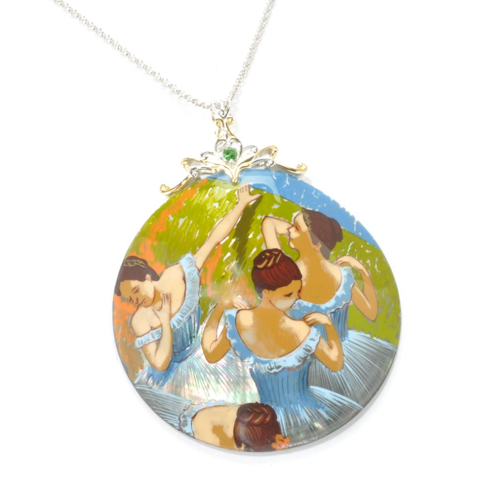 "136-362 - Gems en Vogue II 60mm Hand-Painted Mother-of-Pearl ""Blue Dancers"" Pendant w/ Chain"