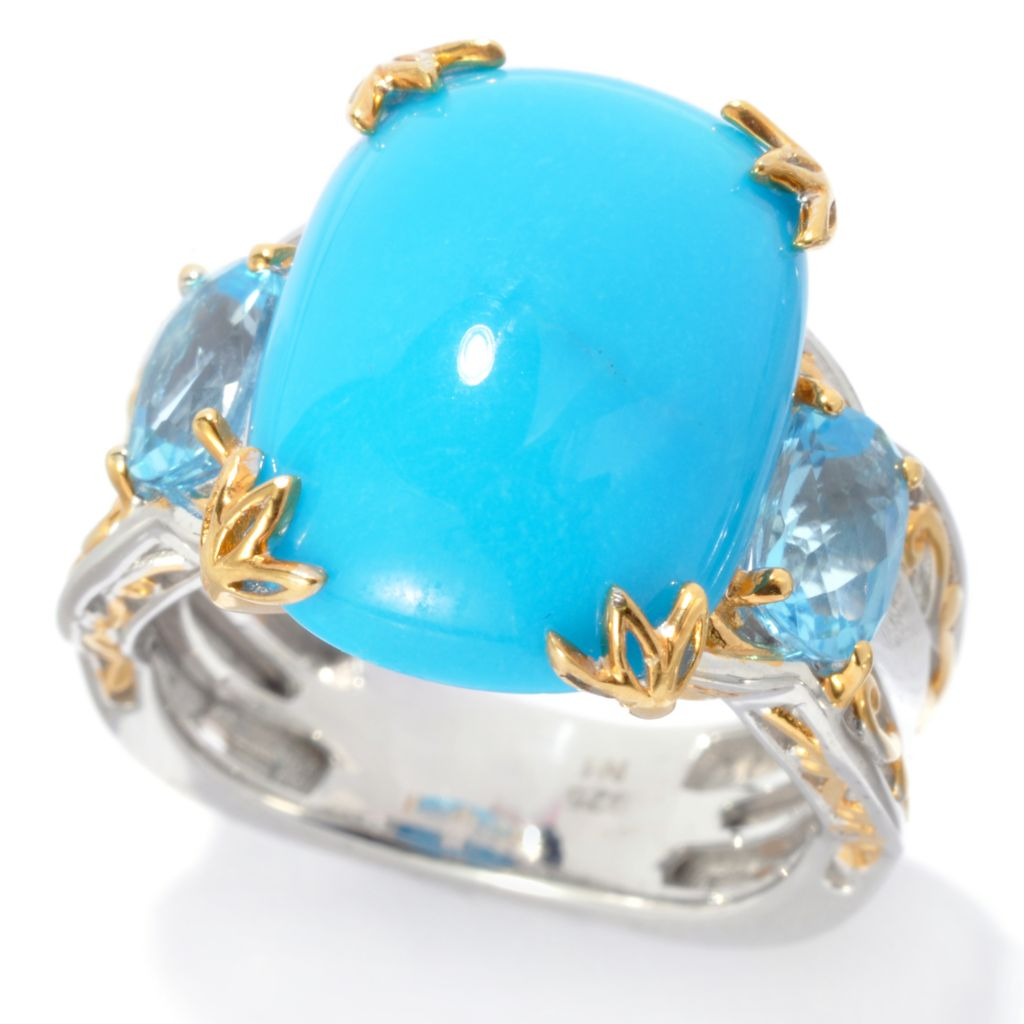 136-364 - Gems en Vogue II 16 x 12mm Sleeping Beauty Turquoise & Swiss Blue Topaz Ring