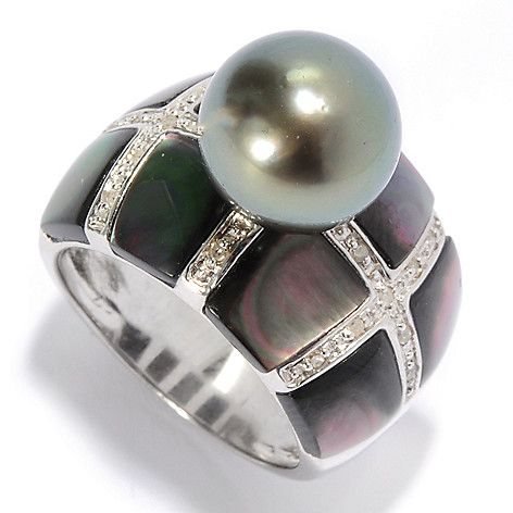 136-366 - Sterling Silver 10-11mm Tahitian Cultured Pearl, Mother-of-Pearl & Diamond Ring