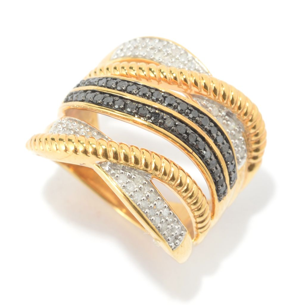 136-367 - Diamond Treasures 14K Gold Embraced™ 0.49ctw Black & White Diamond Multi Row Ring