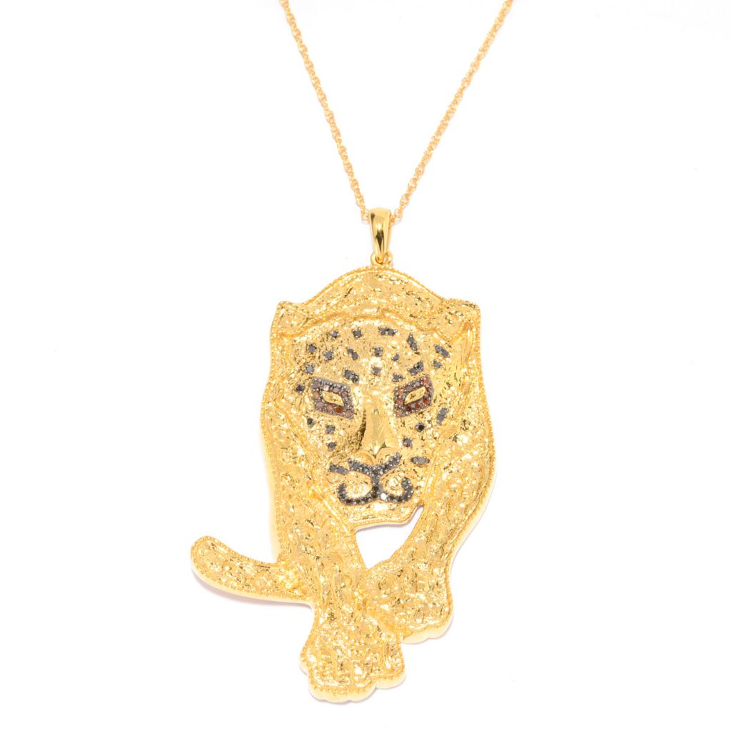 136-368 - Diamond Treasures 14K Gold Embraced™ Fancy Color Diamond Panther Pendant w/ Chain