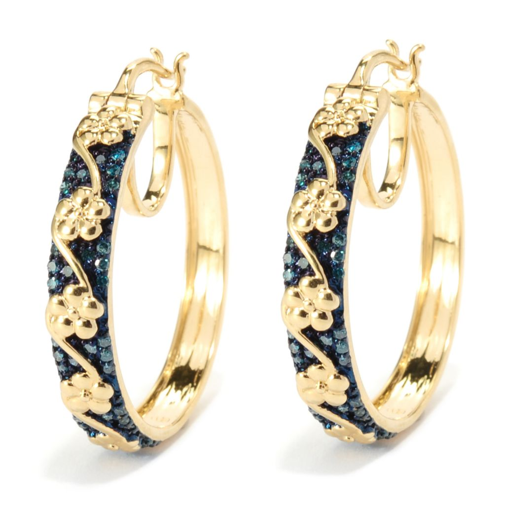 "136-369 - Diamond Treasures 14K Gold Embraced™ 1"" 0.51ctw Fancy Color Diamond Hoop Earrings"