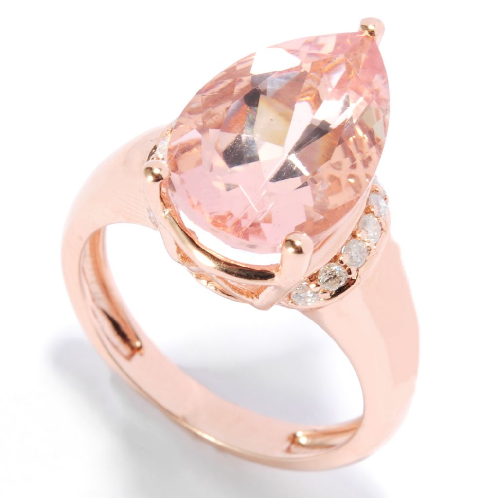 136-372 - Gem Treasures 14K Rose Gold 5.78ctw Pear Cut Morganite & Diamond Ring