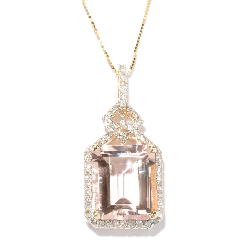 136-375 - Gem Treasures 14K Gold 5.41ctw Morganite & Diamond Drop Pendant w/ Chain