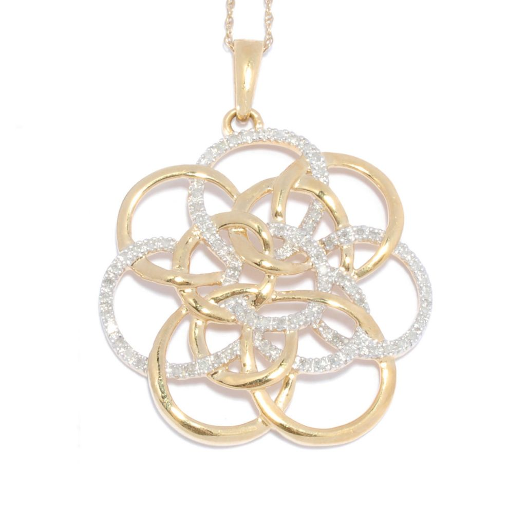 136-376 - Diamond Treasures 14K Gold Embraced™ 0.14ctw Diamond Intertwined Swirl Pendant w/ Chain