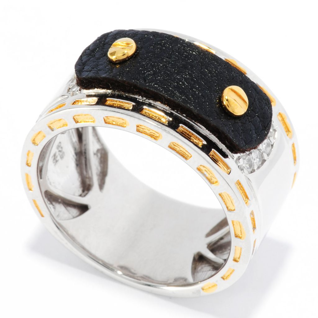 136-378 - Men's en Vogue II White Zircon Leather Overlay Band Ring