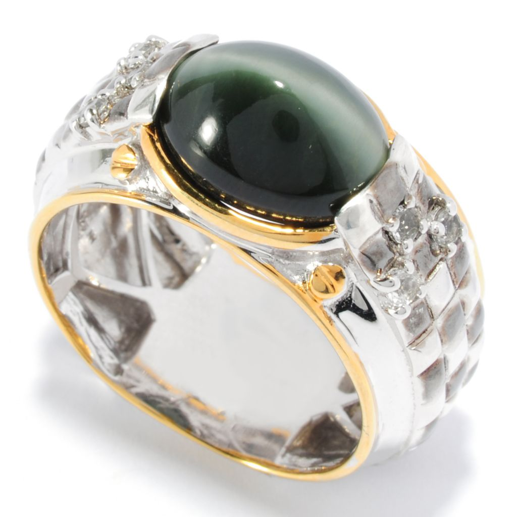 136-380 - Men's en Vogue II 12 x 10mm Oval Sillimanite Cat's Eye & White Topaz Ring