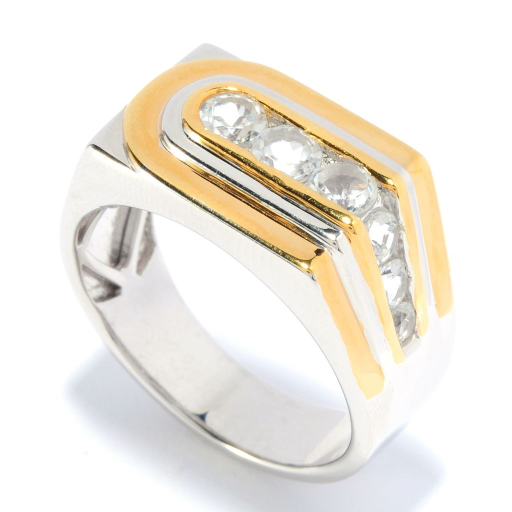 136-381 - Men's en Vogue II 1.28ctw Round White Topaz Off-Center Band Ring