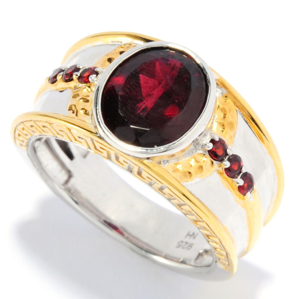 136-382 - Men's en Vogue II 3.92ctw Rhodolite & Almandine Garnet Hammered Ring