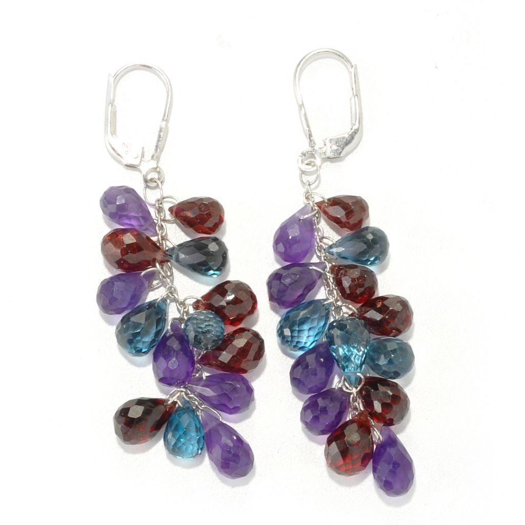 "136-385 - NYC II 2.5"" Multi Gem Briolette Dangle Earrings"