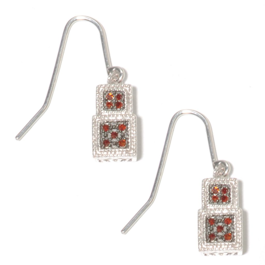 136-389 - Diamond Treasures Sterling Silver 0.10ctw Fancy Color Diamond Step Drop Earrings