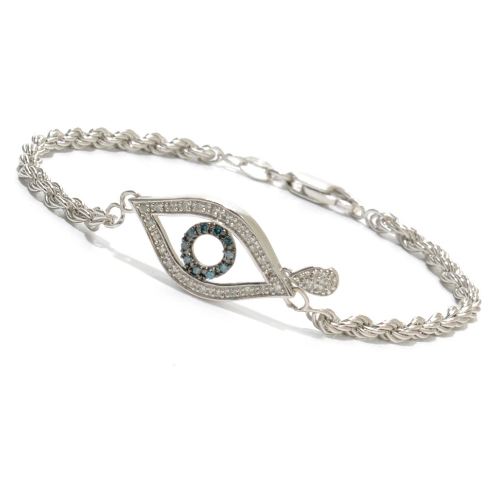 "136-394 - Diamond Treasures Sterling Silver 7.25"" 0.24ctw Blue & White Diamond Evil Eye Bracelet"