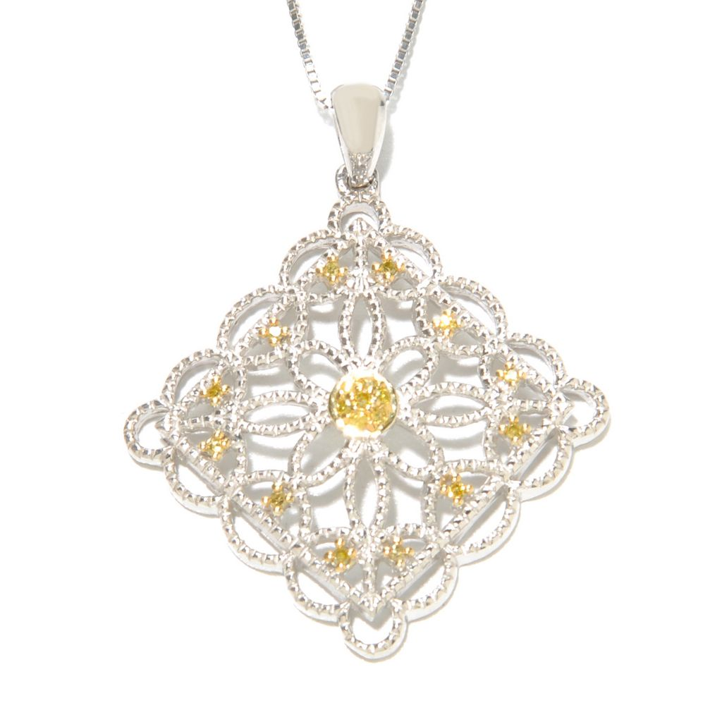 136-397 - Sterling Silver 0.10ctw Fancy Color Diamond Openwork Floral Pendant w/ Chain